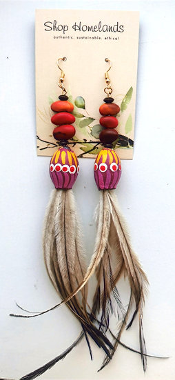 Painted Gumnut, Ininti Seed and Emu Feather Earrings - 7005