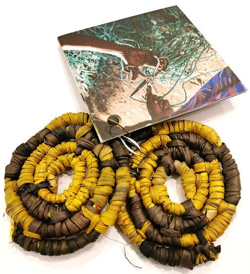 Black and Yellow Pandanus Earrings (5cm) by Tammy Lalara