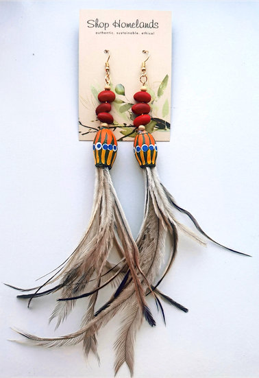 Painted Gumnut, Ininti Seed and Emu Feather Earrings - 7006