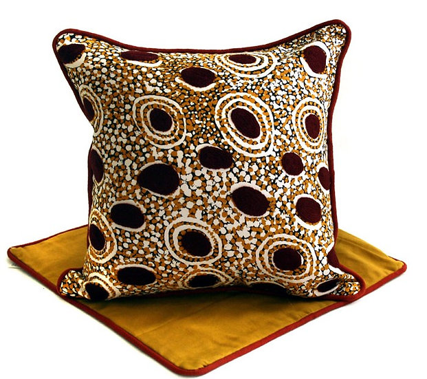 Hand Printed & Embroidered Cushion Cover (41cm) by Andy Tjilari