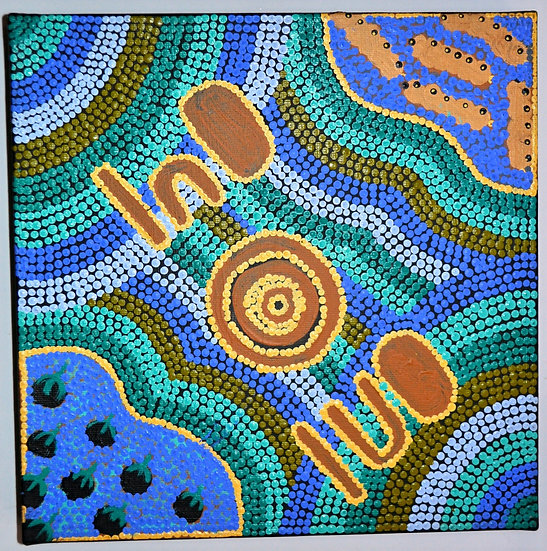 Ngarlkirdi Jukurrpa (30x30cm pre-stretched on canvas) by Violet Malbunka