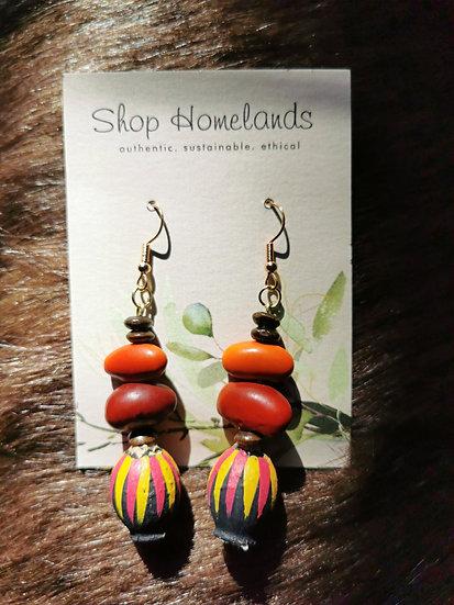 Black Painted Gumnut and Ininti Seed Earrings