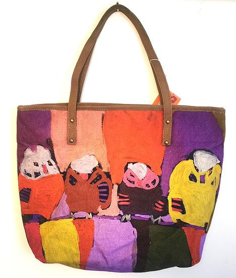 "Leather Trimmed Tote Bag - ""Parrots in Yuendumu"" by Karen Napajarri Barnes"