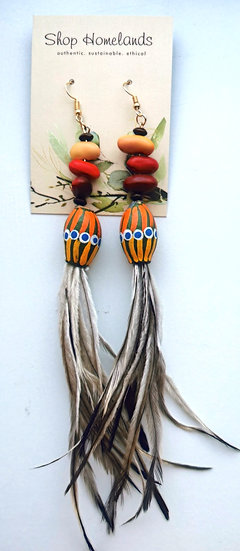 Painted Gumnut, Ininti Seed and Emu Feather Earrings - 7000
