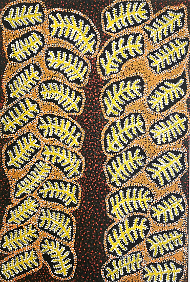 Kaliny-kalinypa (Honey Grevillea) by Rene Kulitja (920x610mm) Acrylic on Canvas