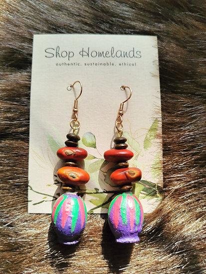 Purple Painted Gumnut & Ininti Seed Earrings
