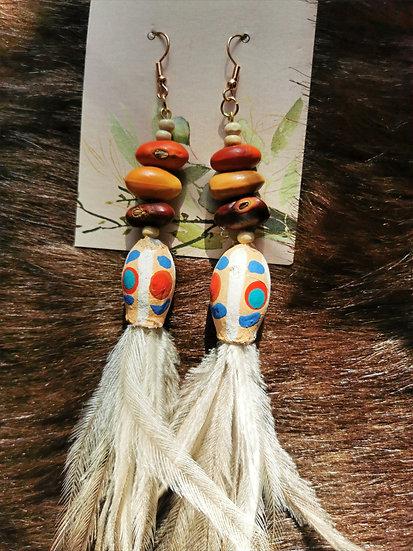 Gumnut, Emu Feather and Ininti Seed Earrings