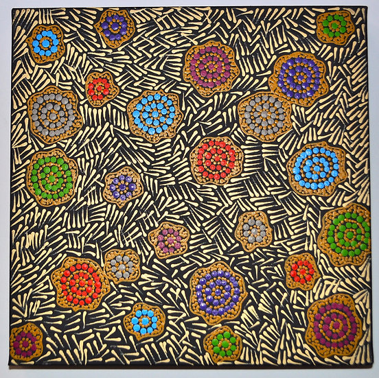 Warlukurlangu Jukurrpa (30x30cm pre-stretched on canvas) by Nathania Granites