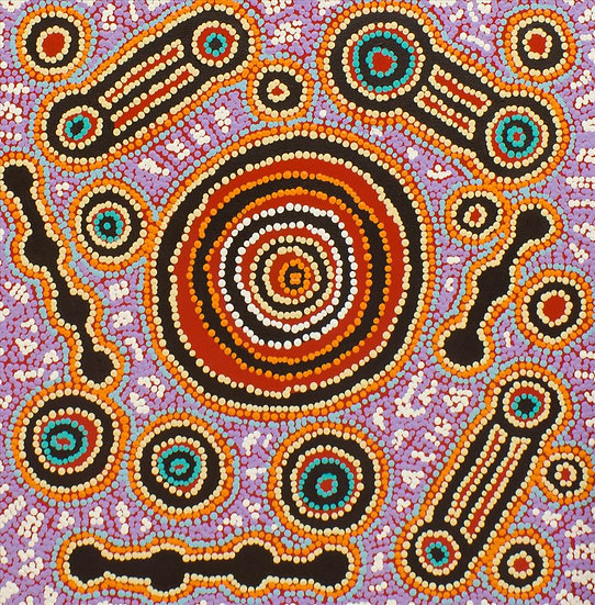 """Waru at Watarru"" (50 x 50 cm Acrylic on Canvas) by Rosemary Peters"
