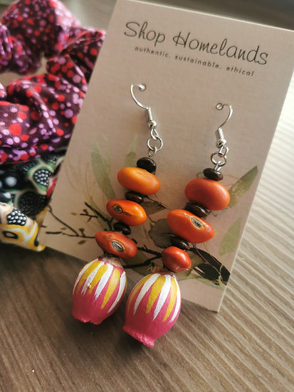 Painted Gumnut & Ininti Seed Earrings