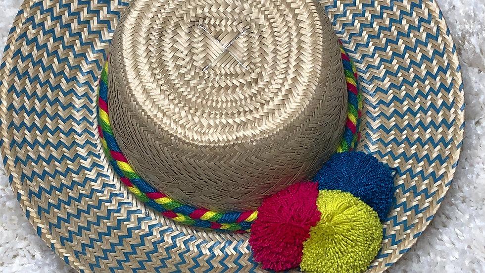 Colombian Straw Hat (Aqua Multi)