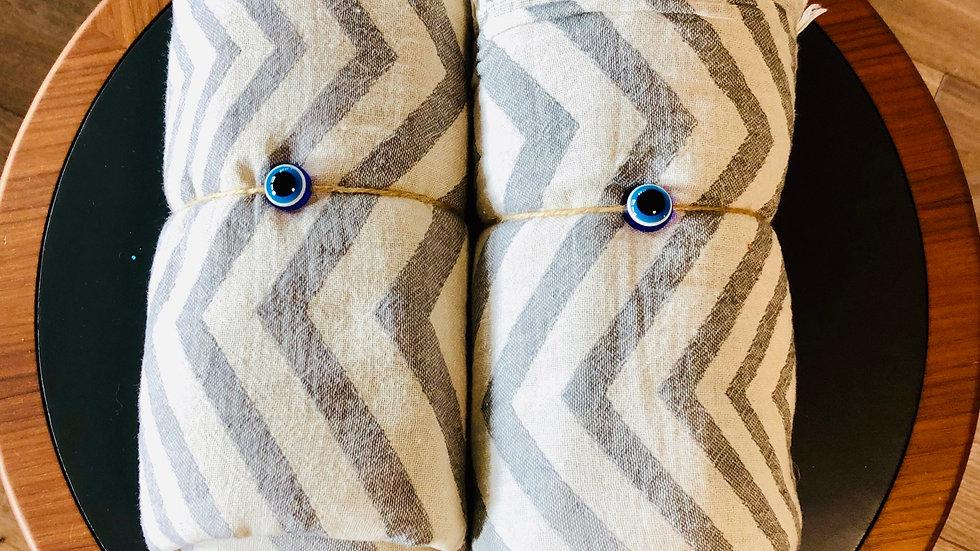 Cotton Chevron Stripe Turkish Towel (Gray)