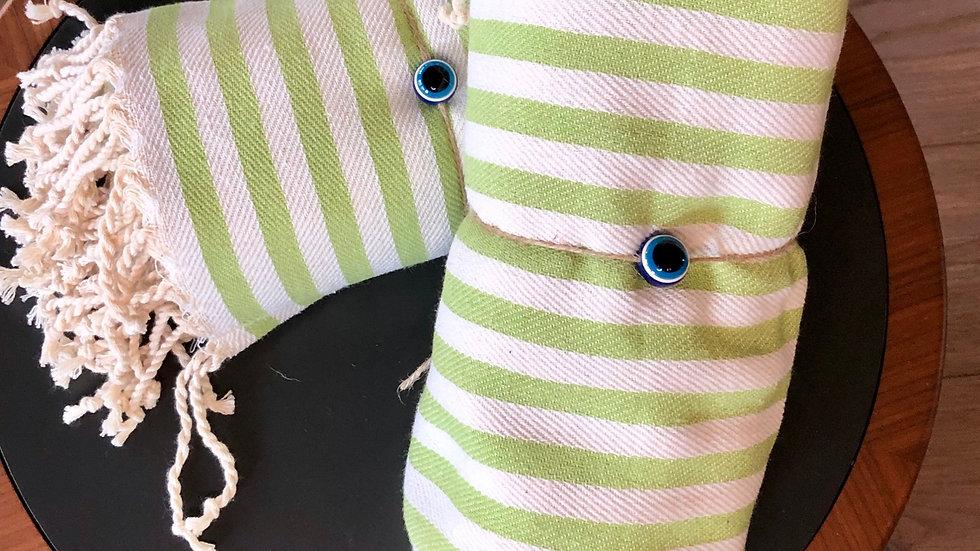 Cotton Basic Stripe Turkish Towel (Green)