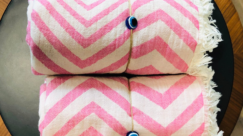 Cotton Chevron Stripe Turkish Towel (Pink)