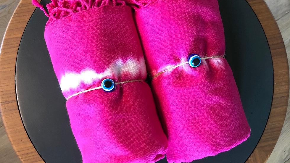 Cotton Tie Dye Turkish Towel (Fuschia)