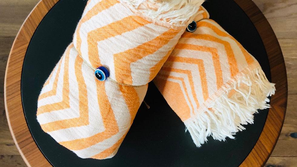 Cotton Chevron Stripe Turkish Towel (Orange)