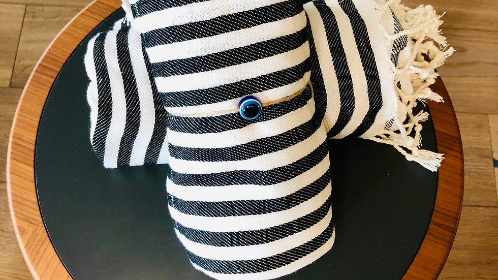 Cotton Basic Stripe Turkish Towel (Black)