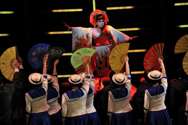 Katisha (Meaghan Deiter) with the chorus of 'The Mikado.' Photo by Ellen Appel.
