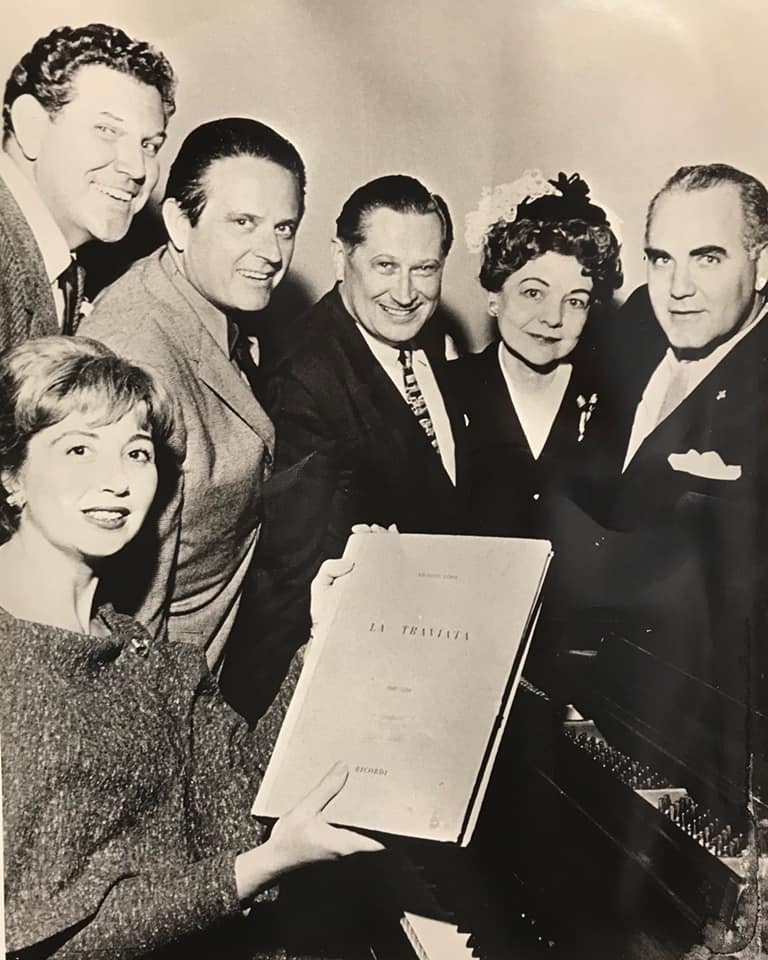 In November of 1963, the late great soprano Beverly Sills made her debut with the Fort Worth Opera as Violetta in Verdi's La Traviata. Here she is with Met tenor Brian Sullivan, William Pickett, Eugene Conley, FWO founder Eloise MacDonald Snyder, and Melvin O. Dacus.