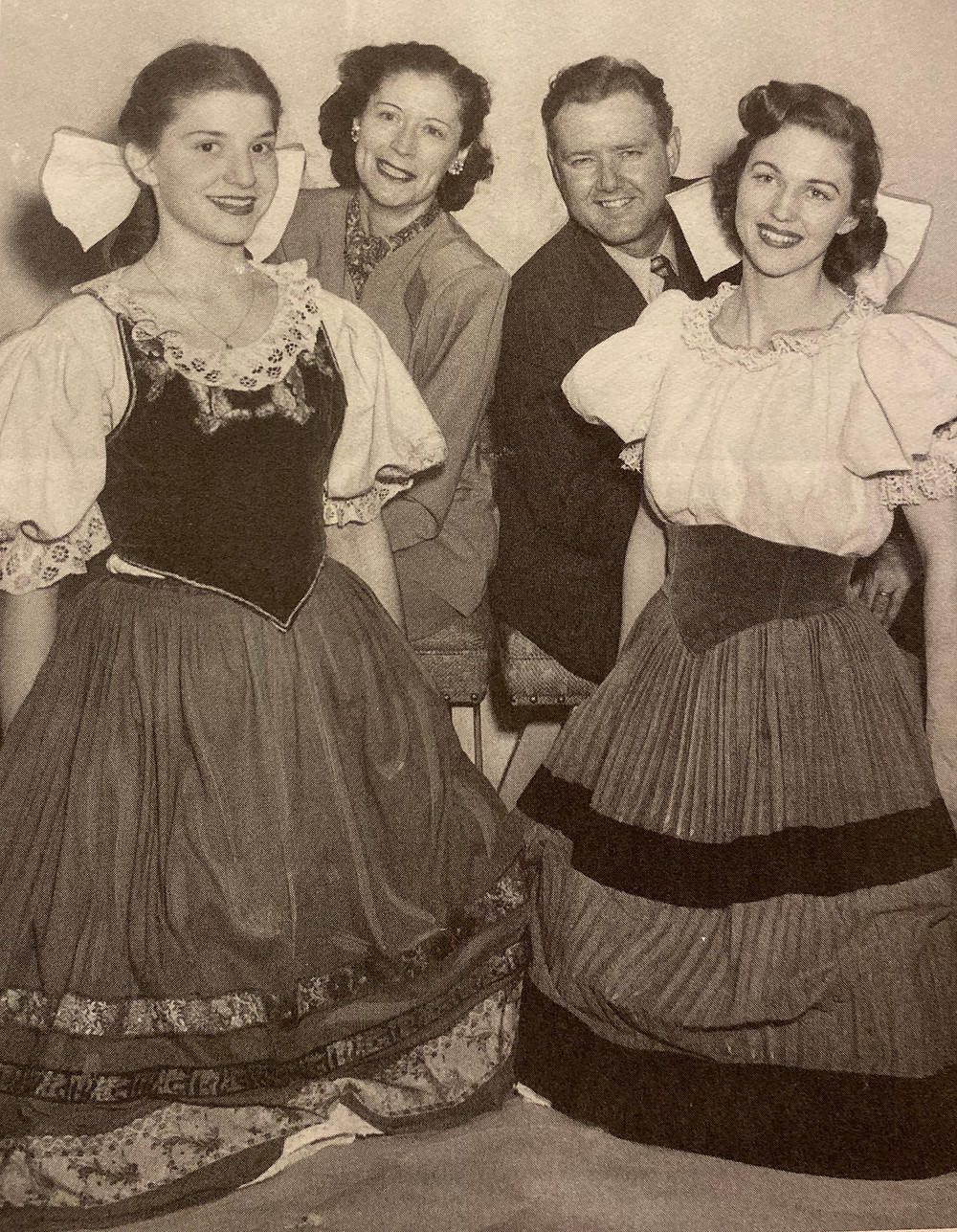 Jeanne Axtell Walker (center) with cast members of 'The Bartered Bride' (1949). Courtesy, Fort Worth Star-Telegram Collection, UTA Libraries