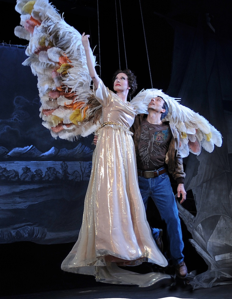 Ava Pine as The Angel and David Adam Moore as Prior Walter in FWO's 2008 production of Eötvös' 'Angels in America.' Photo by Ellen Appel