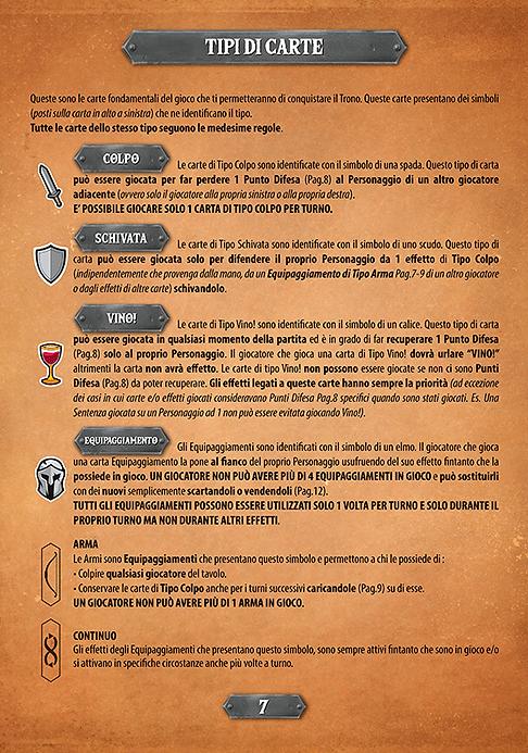 Throne | Gioco da Tavolo | I Guardiani di Kalesh - Regolamento - Tipi di Carte