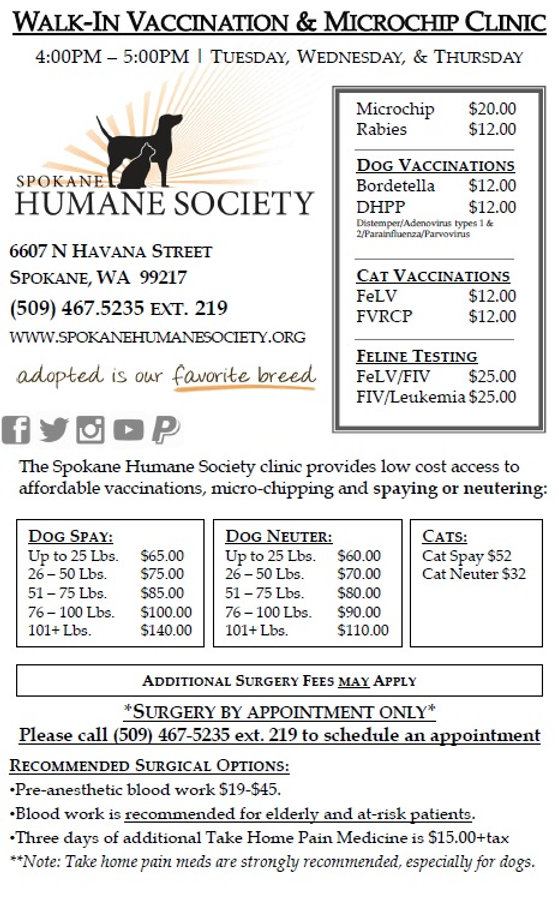 Spokane Humane Society low cost spay neuter vaccination microchip clinic