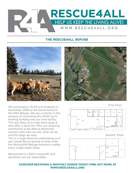 Rescue4All media kit Spokane dog rescue jamie mcatee R4A 501c3 nonprofit refuge