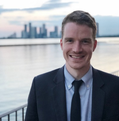 David Campbell in front of a city skyline