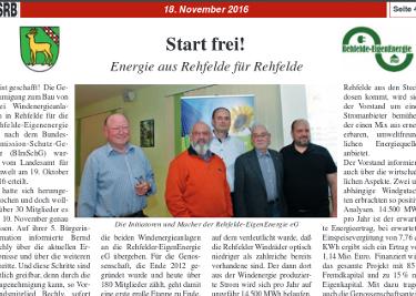 """Lokale Energie für die Region: """"Rehfelder Tarif"""""""