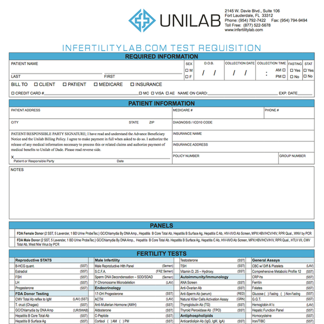 Unilab Requisition Form