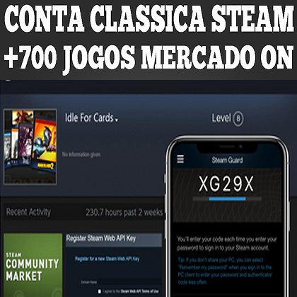 CONTA STEAM | +700 jogos | 22 lvl | api + mercado | Idled Trade-Enabled