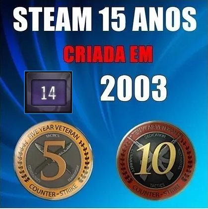 CONTA STEAM 15 ANOS - MEDALHAS 5 E 10 ANOS