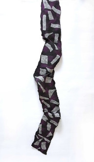 Surrealistic Silk Shapes Felted Wool Scarf - byCananOral