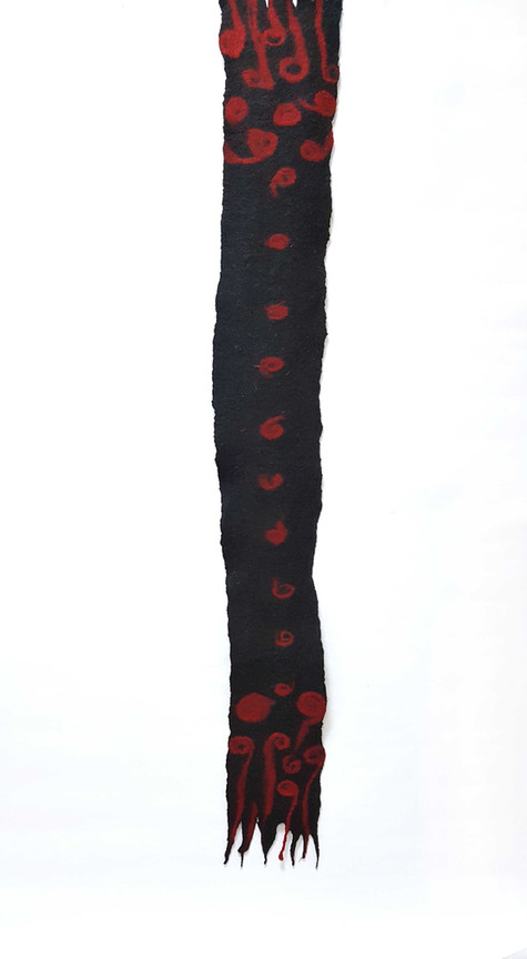 Red Wool Fibers Felting - byCananOral