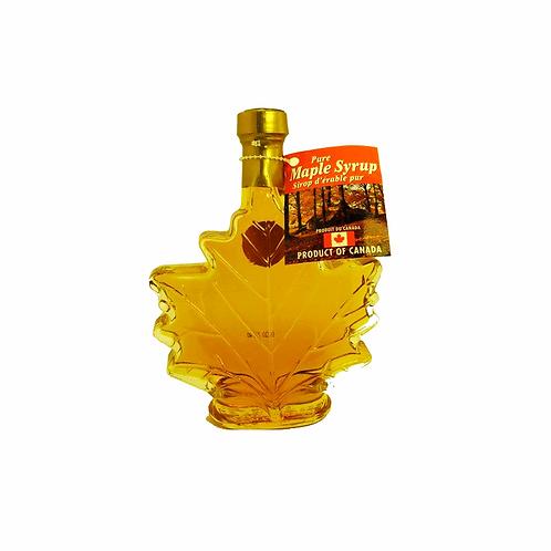 Sirop d'érable ambré dans une bouteille en feuille d'érable ( 250ml )