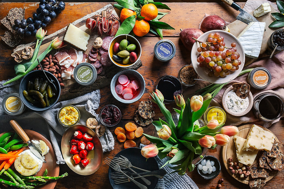 Claudias Kitchen Charcuterie Board Layout with Speciality Condiments