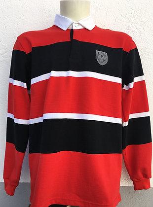 Polo à rayures rouge blanc et noir avec broderie manches au choix