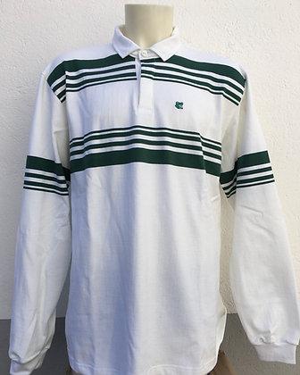 Polo rayé vert sapin et blanc manches au choix