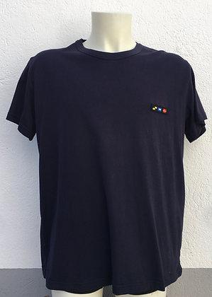 T-shirt bleu marine brodé manches au choix
