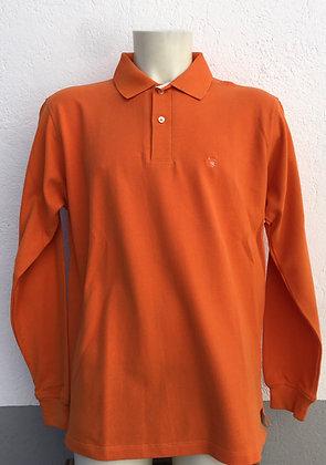 Polo uni orange manches au choix