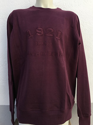 Sweat-shirt bordeaux brodé