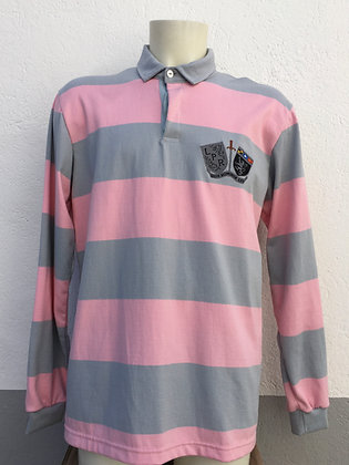 Polo rayé rose et gris avec broderie manches au choix
