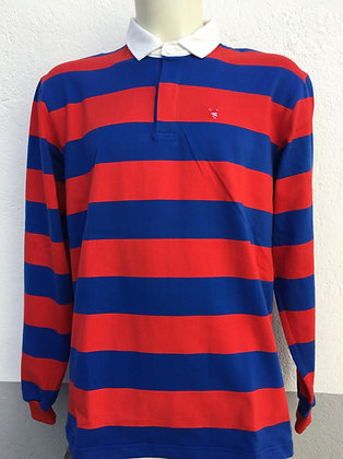 Polo rayé rouge et bleu manches au choix