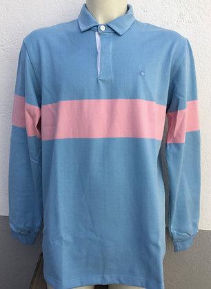 Polo rayé rose et bleu manches au choix