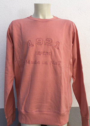 Sweat-shirt vieux rose brodé