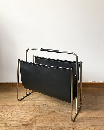 Carl Auböck Magazine Rack Nickel & Leather 50s
