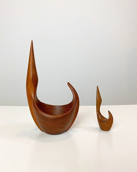 Set of Two Johnny Mattsson Sculptures Teak 1950s