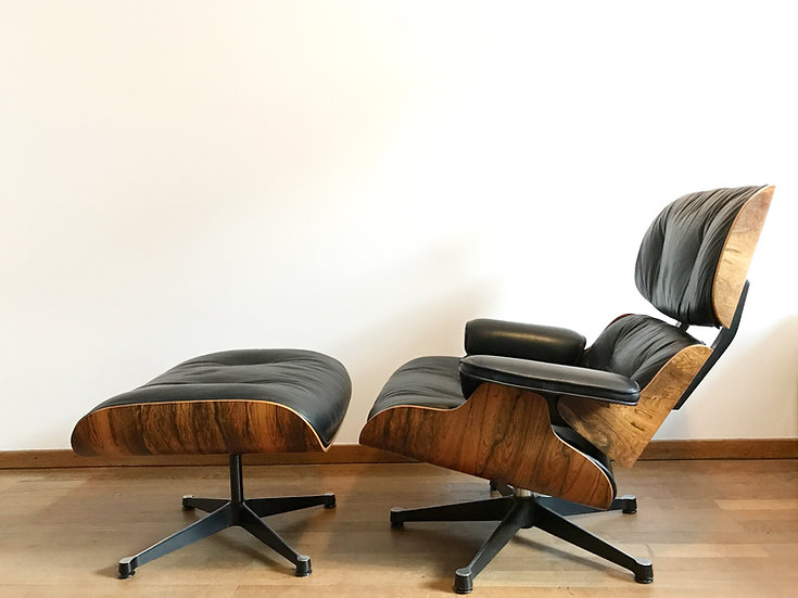 Eames Lounge Chair & Ottoman Rosewood & Black Leather 60s