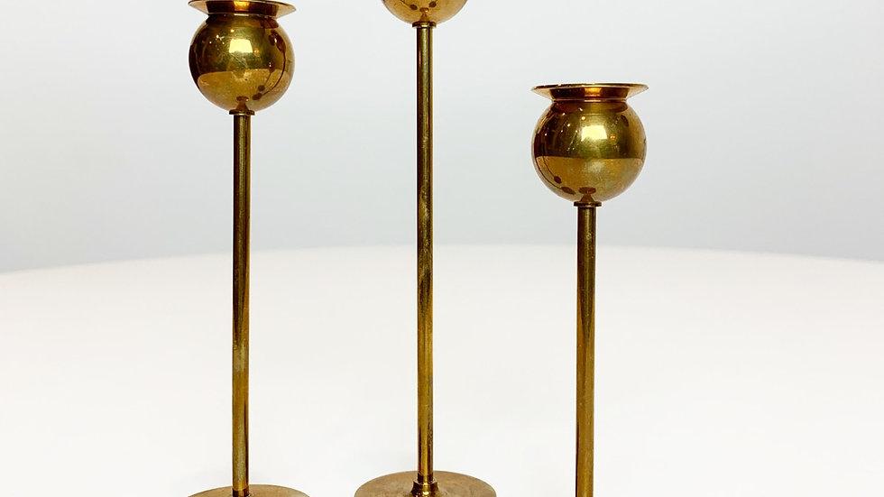 Set of Three Miniature Pierre Forsell Candlesticks Skultuna, 70s